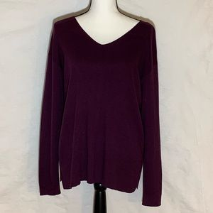 J Jill Purple V-Neck Sweater Medium